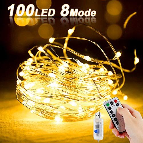 LED Kupferdraht Lichterkette,100LEDs Lichterkette im 10M USB-Anschluss mit Fernbedienung 8 Programm LED-Lichter für Party, Weihnachten, Halloween, Hochzeit, Hochzeit, Party (Warmweiß)