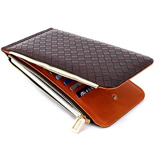 Bolso de mano largo para mujer, carteras y embragues, para tarjetas, marrón oscuro (Marrón) - 6972299150053
