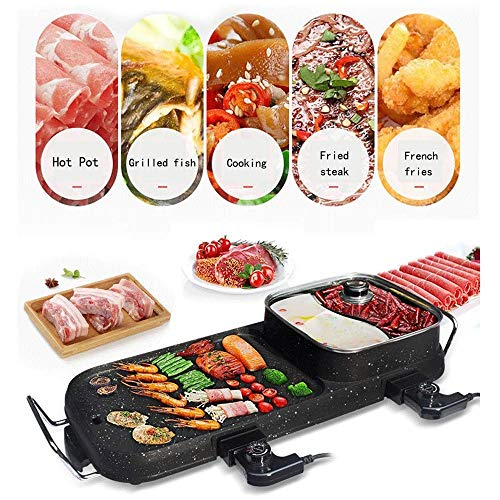 51FGc7J 6XL - Lamyanran Fondue-Fritteusen BBQ Grill & Hot Pot, Non-Stick Elektrobackblech, Multi-Funktions-Elektro-Grill-Ofen und Hot Pot mit 5 Einstellbare Electric Power