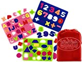 Matty's Toy Stop Deluxe EVA Foam Puzzles Featuring Alphabet, Numbers & Shapes with Storage Bag - 3 Pack (Assorted Bright Colors)