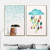 Dibujos animados minimalistas nórdicos oso encantador paseo con paraguas nube geométrica lienzo pintura cartel de pared para decoración de habitación de niños / 40x60cmx2 sin marco