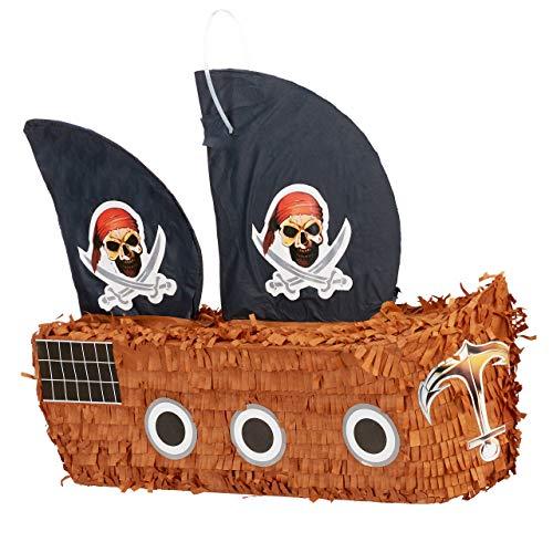 Relaxdays Pinata Piratenschiff, zum Aufhängen, für Kinder, Jungs, Geburtstag, zum selbst Befüllen, Piraten Piñata, bunt