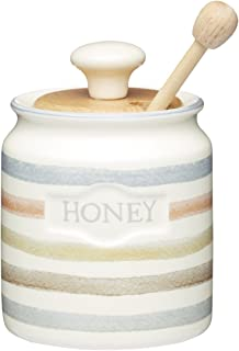 Kitchencraft Class Collection Striped Ceramic Honey Pot With Wooden Dipper, 450