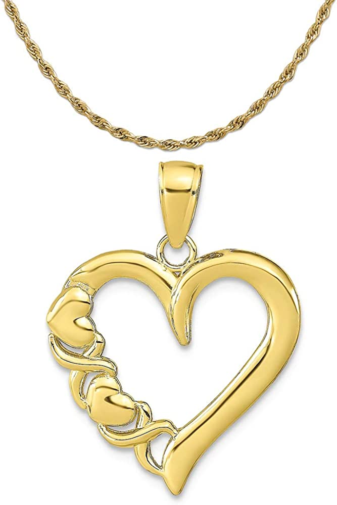10K Yellow Gold Polished Heart And Pendant X Tucson Mall mm 18.5 24 W Seasonal Wrap Introduction