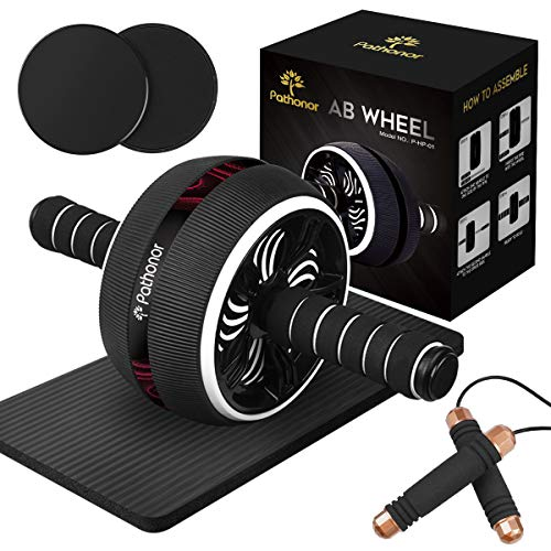 PATHONOR Ab Roller Wheel for Abdominal Exercise, 4-in-1 Abs Roller Wheel Kit with Core Sliders, Knee Mat, Jump Rope, Gym Equipment for Home Men Women Core Strength Abdominal Exercise