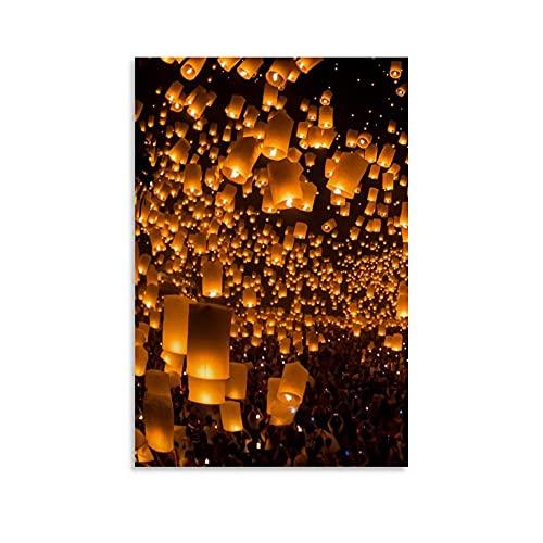 YANXIAO Póster romántico de lámpara flotante de lona decorativa para pared, sala de estar, dormitorio, 40 x 60 cm