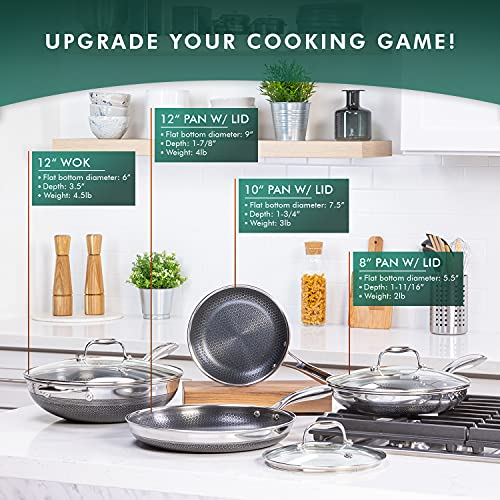 HexClad 7-Piece Hybrid Stainless Steel Cookware Set with Lids and Wok - Metal Utensil and Dishwasher Safe, Induction Ready, PFOA-Free, Easy to Clean Non Stick Fry Pan with Covers