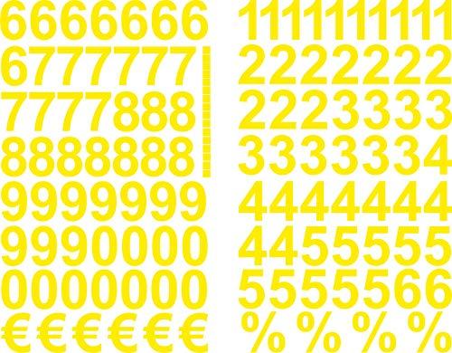 Gelbe Zahlen Aufkleber 3cm Hoch - 117 KLEBEZAHLEN - Selbstklebende Ziffern und Nummern 0-9 und € sowie% - Ideal für den Außenbereich da Wasser und Wetterfest