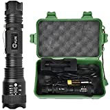 CVLIFE Tactical Flashlight LED Light 5 Modes Zoomable Water Resistant Handheld Mini Torch with Belt Clip, Best Camping Outdoor Emergency Flashlights, Rechargeable 18650 Battery Included