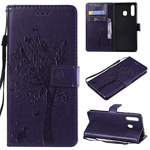 nancencen Hülle Kompatibel mit Samsung Galaxy A8S, Flip-Hülle Handytasche - Standfunktion Brieftasche & Kartenfächern - Baum & Katze - Purple