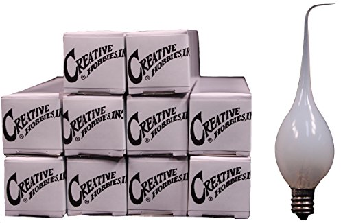 Creative Hobbies Silicone Dipped, Country Style, Electric Candle Lamp Chandelier Light Bulbs, 7 Watt, Individually Boxed, Wholesale Pack of 10 Bulbs