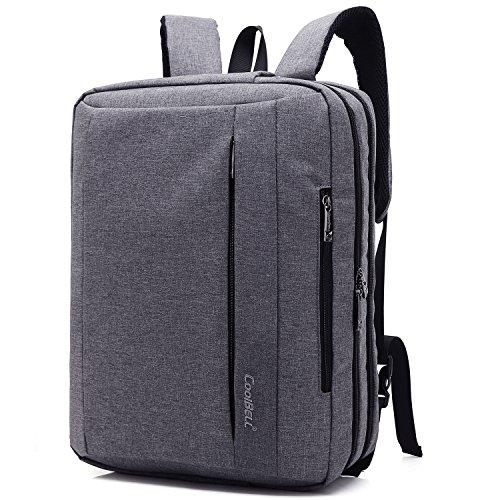 CoolBELL 15,6 Zoll umwandelbar Laptop Tasche/Rucksack Messenger Bag Oxford Gewebe Umhängetasche Backpack Mehrzweck Aktentasche für Laptop/MacBook/Tablet/Herren/Damen(Grau)