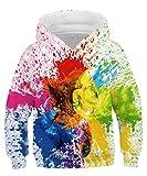 Rave on Friday Gemälde Kapuzenpullover Unisex Lustiger 3D Druck Hoodie Splatter Pullover Neuheit Langarm Sweatshirt 135 für Jungen Mädchen M