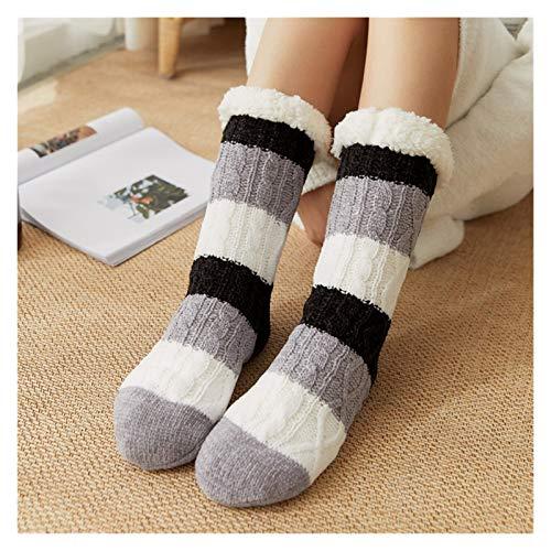 Yisss Calcetines de Zapatillas de Invierno, Calcetines de Zapatillas para Damas, Calcetines cálidos, Calcetines Super Suaves y Forrados de Lana, Calcetines Antideslizantes, Calcetines de Piso Grueso