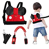 Lehoo Castle Toddler Leash for Walking, Baby Leashes for Toddlers Boys 3-in-1, Kid Harness with Leash, Child Safety Leash Anti Lost Wrist Link (Mickey)