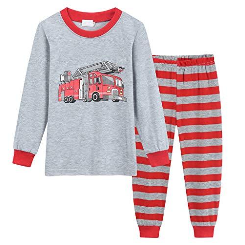 Peuter Kinderen Pyjama Set Kleine Baby Jongens Cartoon Gedrukt T Shirt Tops+ Broek Pyjama Slaapmode Outfits Set Kind Lange Mouw Nachtkleding Katoen PJS Sets 2 PCS Leeftijd 1-6 Jaar