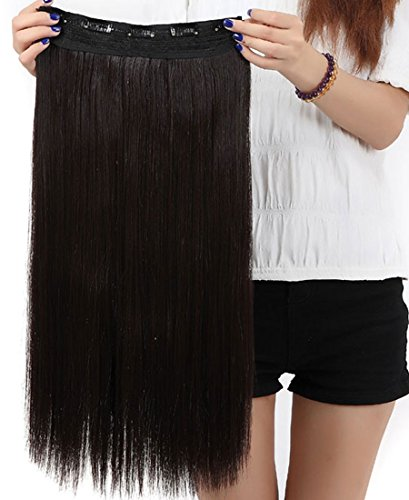 S-noilite庐 Fashion 23 Inches (58cm) 3/4 Full Head One Piece 5clips Clip in Hair Extensions Extension Long Straight All Colors (Dark Brown)