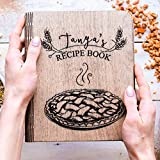 Wooden Recipe Notebook with recipe pages Christmas Gift Custom Print Personalized Journal Blank Sketchbook Great Gift for Girlfriend Brother Sister Recipe book for great recipes By Enjoy The Wood