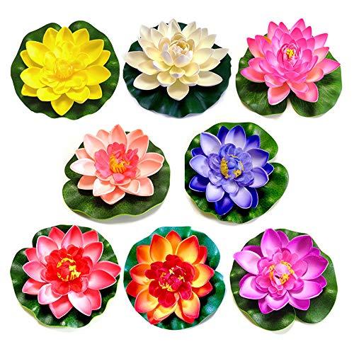 8ST Schaum Seerose Blume Dekor, Lotus-Blume aus Schaumstoff, für Aquarium Terrasse Garten Schwimmende Pool Dekoration Hochzeit