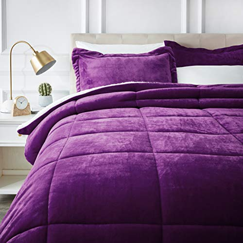 AmazonBasics Ultra-Soft Micromink Sherpa Comforter Bed Set, Full or Queen, Plum - 3-Piece