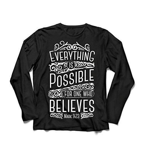 Camiseta de Manga Larga para Hombre Jesucristo: Todo es Posible para quien cree: religión Cristiana, fe, Biblia, Pascua, resurrección (Small Negro Multicolor)