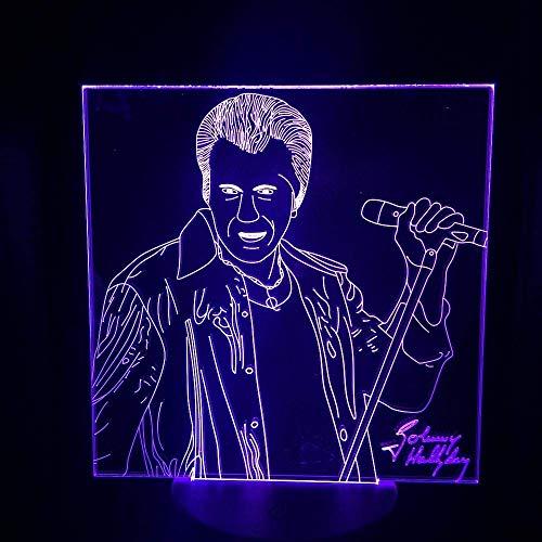 Lámpara de ilusión 3D Luz de noche Led Johnny Hallyday Sensor táctil Decoración de dormitorio 7 Cambio de color Festival Presente Lámpara de mesa Ventiladores