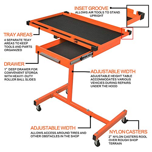Aain LT118 Adjustable Heavy Duty Work Table With Drawer, Rolling Tool Table For Garage, 220 lbs Capacity Tool Tray With Wheels