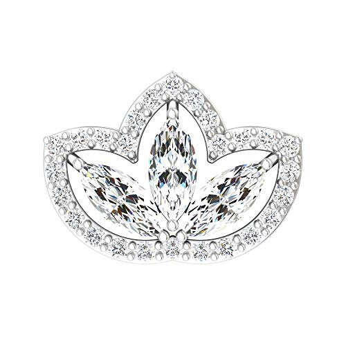 Art Deco Cartilage Earring, SGL Certified 0.31 Ct Marquise Shape Diamond Earring, Halo Climber Earring, Body Jewellery, Crawler Earring, 10K White Gold Flat Back 7.5mm