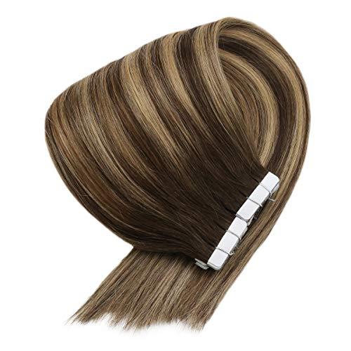 20枚/セット100%高級人毛エクステンション装用簡単襟足ウィッグ4月27日/ 4#チョコブラウン&キャラメルブラウンツートンカラーの「サニー」イメージを変えるシールエクステ50センチメートルの50グラム