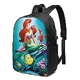 Dansony Mermaid Ariel Mochilas tipo casual Mochila unisex para computadora portátil de 17 pulgadas, mochila escolar con puerto de carga USB