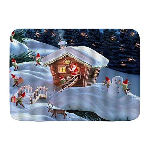 Fußmatten, Santa Elf Weihnachten Holzhaus Zwergelfen beschäftigt mit Festivaldekoration bei Snowy Forest Merry Jolly Theme, Küchenboden Badteppichmatte Innenbad Dekor Fußmatte rutschfest