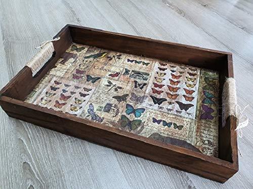 Plateau en bois, Plateau de service, Collection Nature, Modèle Cabinet des curiosités, Marron Bleu Vert
