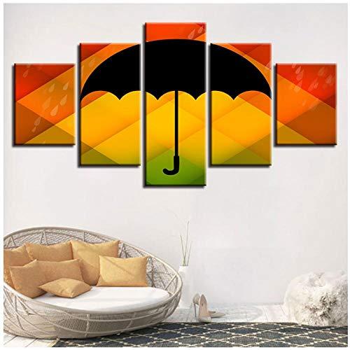 Ywsen Art HD Printing 5 stuks zwart paraplu met gekleurde achtergrond canvas schilderij woonkamer wanddecor, geen lijst, 30x40 30x60 30x80 cm