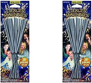 Lot de 40 Cierges magiques sous blisters - longueur 17 cm - longueur utile 8 cm - durée unitaire 45 secondes - décoration ...