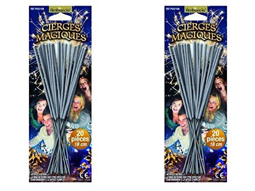 Lot de 40 Cierges magiques sous blisters - longueur 17 cm - longueur utile 8 cm - durée unitaire 45 secondes - décoration dartifice de gateau pour lintérieur catégorie 1