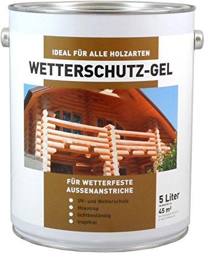 Wilckens Wetterschutzgel 5 Liter für alle Holzarten für Aussenanstrich Farbton Wählbar, Farbe:Nussbaum