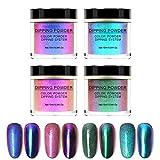 Jackallo Polvo de inmersión, 4 Piezas de Polvos para uñas sin lámpara de curado Natural Dry Nail Art Efecto Espejo Nail Manicure Nail Art Set Essential Kit