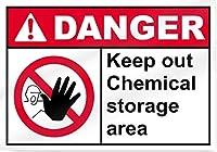 警告サインインチ、化学薬品保管エリアの危険サイン、警告サイン私有財産のための金属屋外の危険サイン錫肉サインアートヴィンテージプラークキッチンホームバー壁の装飾