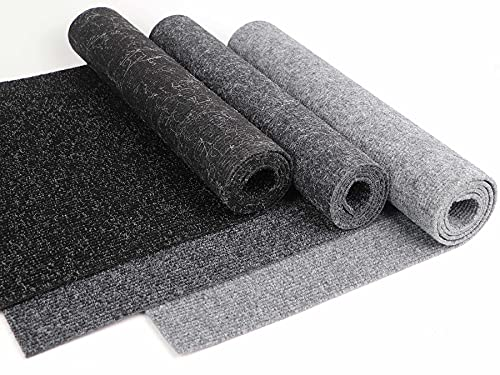 Rips Nadelfilz Teppich-Boden GLADIATOR als Meterware - Schwarz, 2,00m x 1,00m, Schwer Entflammbarer, Gerippter Bodenbelag