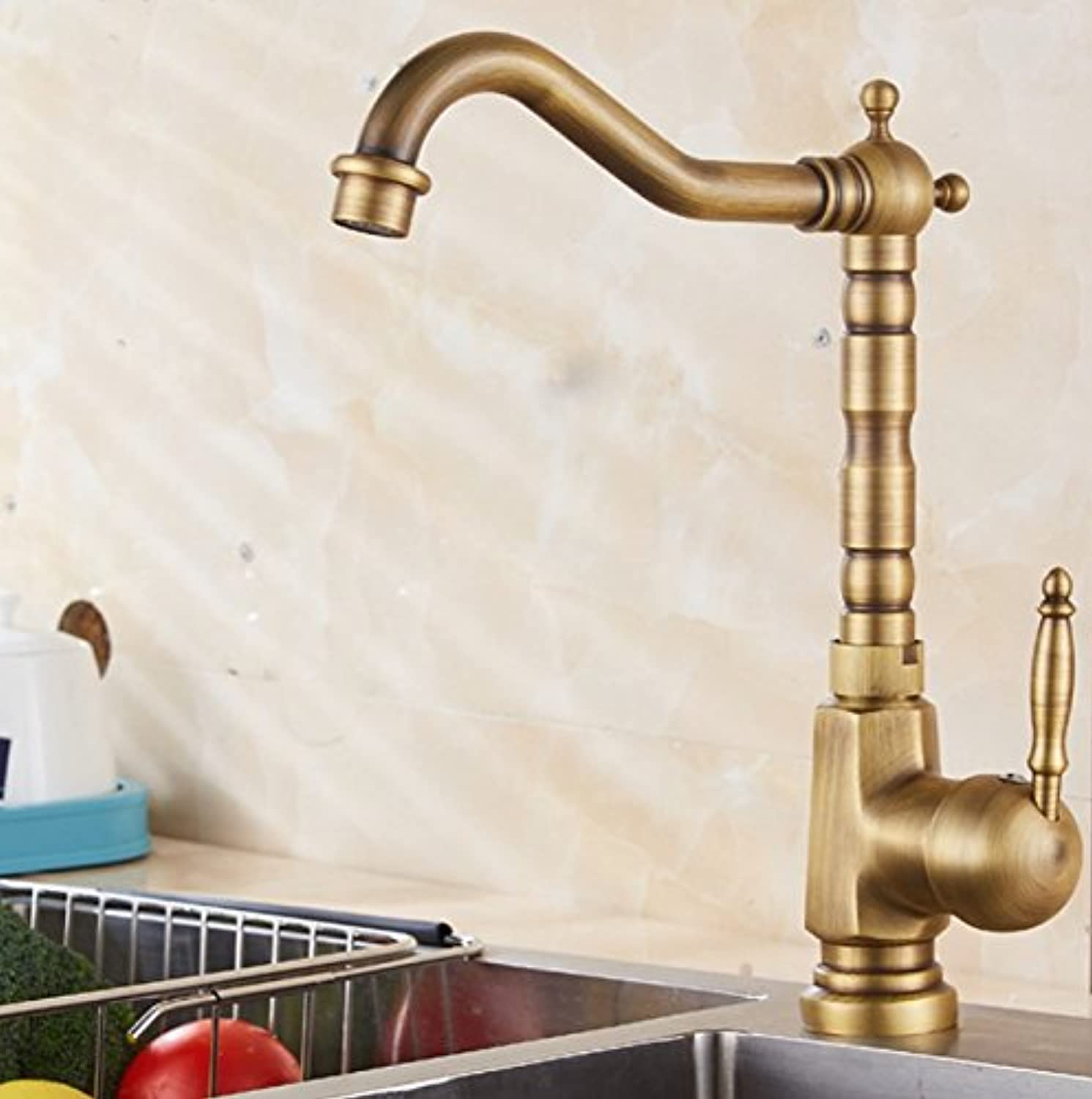 Diongrdk Antique Faucet, European Style Ancient Basin Basin Washbasin, Wash Basin, Hot and Cold Faucet, Bronze color,B