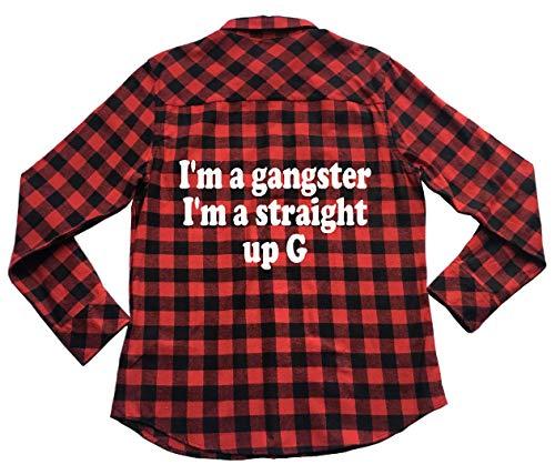 I'm A Gangster I'm Straight Up G - Unisex Plaid Flannel Shirt Red (Im A Gangster Im A Straight Up G)