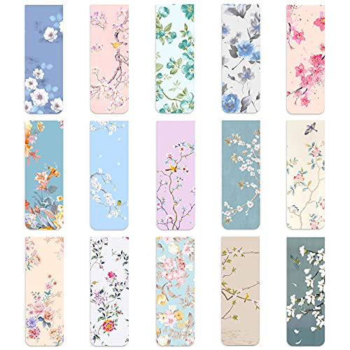 15 Pieces Magnetic Bookmarks, Floral Book Page Markers, Cute Book Marks for Kids Book Lovers Students Teachers Reading