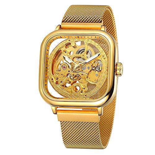 FORSINING 291 Mechanische Herrenuhr 3ATM Wasserdicht Luxury Business Luminous Herrenuhr Skeleton Armbanduhr für Herren mit Edelstahlgitterarmband