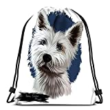 Kkyoxdiy Drawstring Backpack Bags Cairn Terrier Puppy Portrait Domestic Animal Originated In Scottish Highlands Bred To Hut and Sports Gym Bag