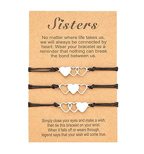 3 pulseras de amistad de larga distancia para parejas, promesas iguales para las señoras pares, mejores amigos, madre e hija, L, Acero inoxidable Nailon,