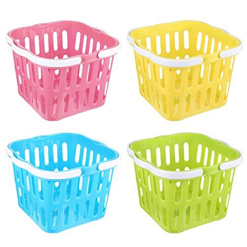 PRETYZOOM 4pcs Picnic Basket Plastic Kitchen Vegetable Basket Kids Toys Open Storage Bins Easter Candy Basket with Double Folding Handles