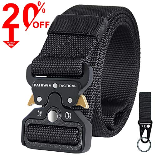 Fairwin Tactical Belt, Military Utility Belt Nylon Web Rigger Belt with Heavy-Duty Quick-Release Metal Buckle for Men...