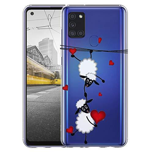 KX-Mobile Hülle für Samsung A21s Handyhülle Motiv 2047 Schafe & Herzen Premium Silikonhülle durchsichtig mit Bild SchutzHülle Softcase HandyCover Handyhülle für Samsung Galaxy A21s Hülle