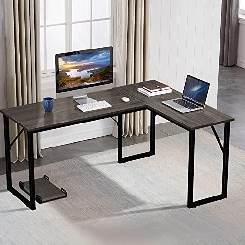 amzdeal Eckschreibtisch, L-förmiger Computertisch mit CPU-Unterstützung, Hergestellt aus Hochwertigem Holz, Stahlstütze, Dunklem Nussbaum (Helle Walnussfarbe)