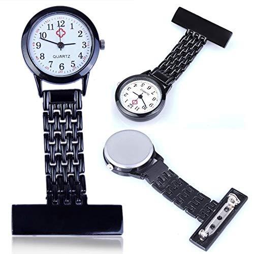 HeNan LiQinKeJi8 Brosche Uhr Mode Schöne Mädchen-Dame-Frauen Krankenschwester Uhren Unisex Doktor Taschen Hang Clip Uhren Für die Arbeit drinnen (Color : Black)